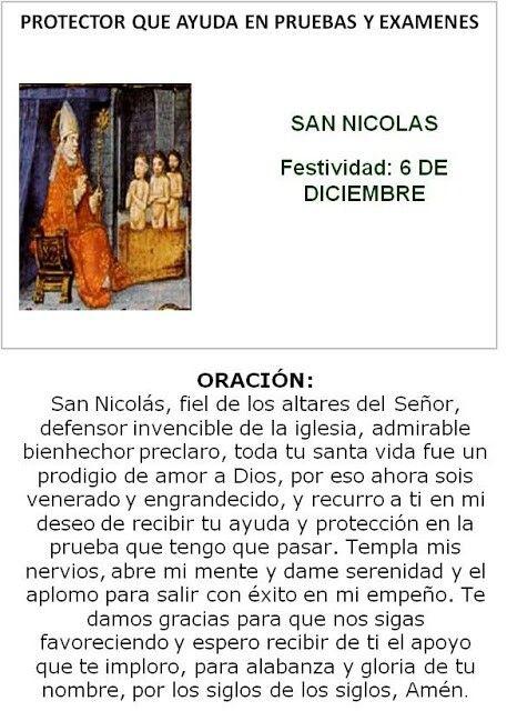 San Nicolás, protector que ayuda en pruebas y exámenes.