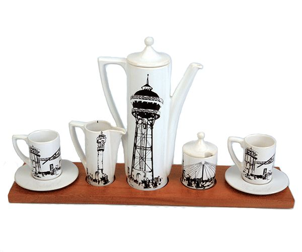 Our Symbols of the City Executive Coffee Set - iconic symbols of South African architecture combined with the ritual of drinking coffee in a perfectly sculptural yet functional coffee set.  #coffee #ceramic #designer #set
