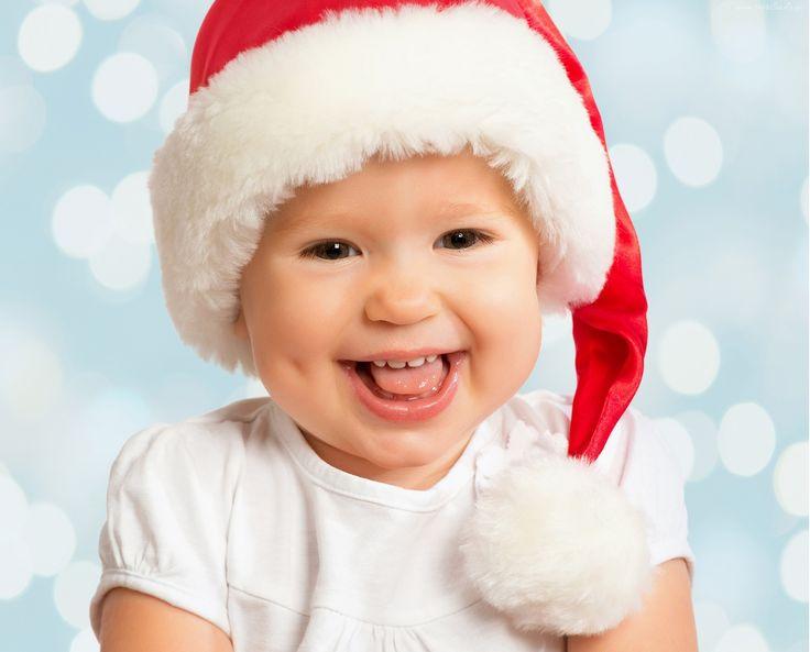 Dziecko, Uśmiech, Czapka, Mikołaja