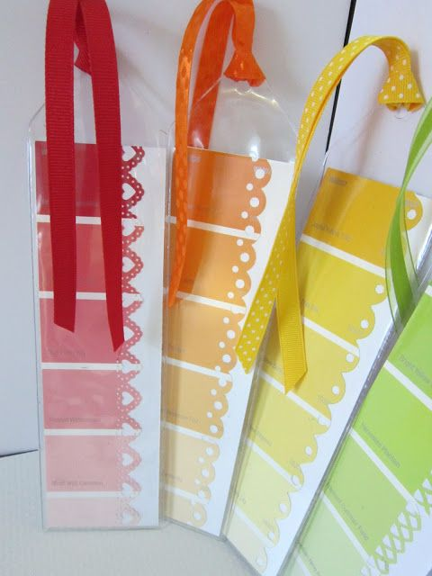 Bookmarks from paint chip samples.