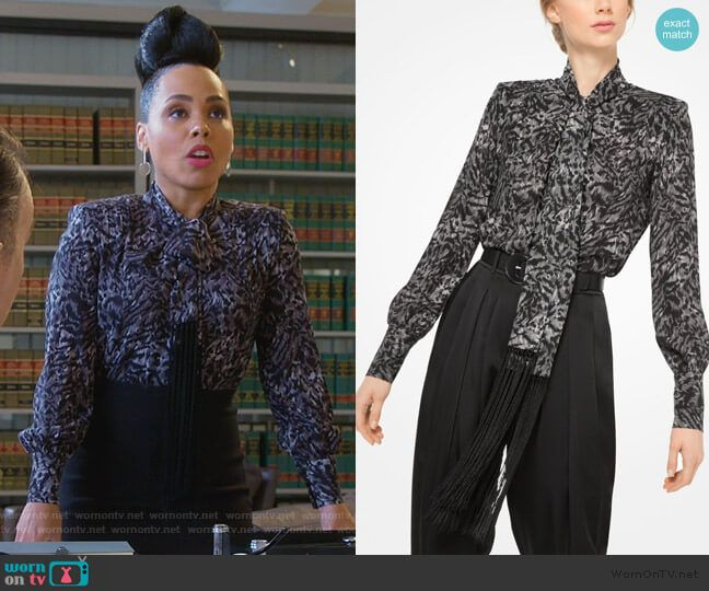 17b81128c5d37b Tegan s printed fringe tie neck blouse on How to Get Away with Murder.  Outfit Details