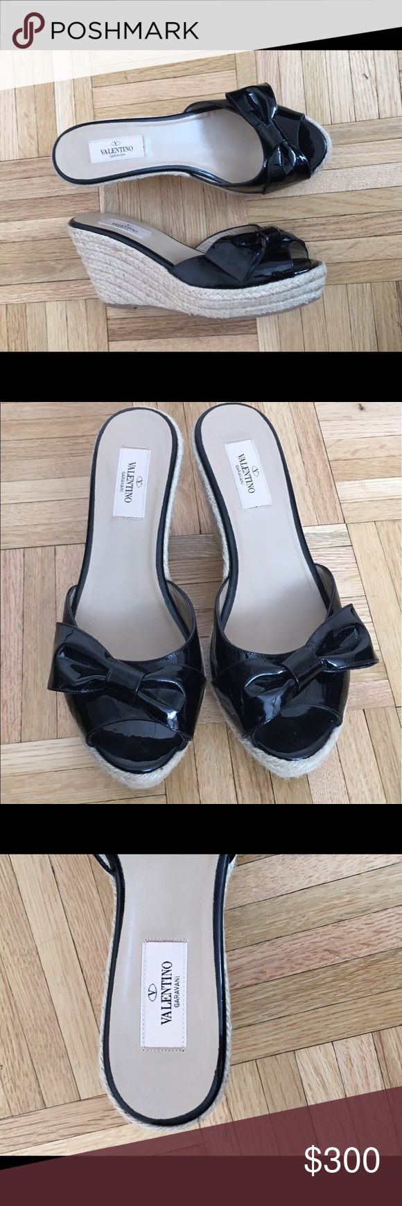 Valentino Wedges- worn once Woven wedge, black patent leather strap around toes, and bow, 3 1/4 in heel, worn once Valentino Shoes Wedges