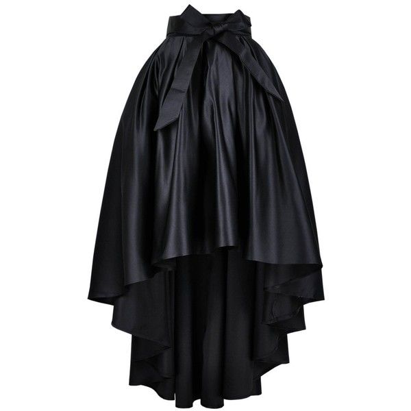 Get The Looks Satin High-Low Hem Prom Maxi Skirt (320 PEN) ❤ liked on Polyvore featuring skirts, black high low maxi skirt, high-low skirt, black maxi skirt, long skirts and short front long back skirt