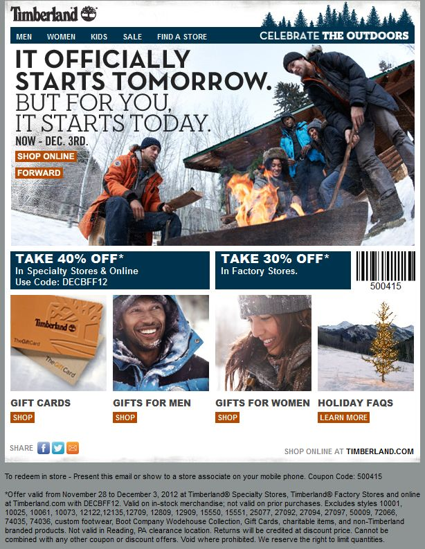 timberland online discount coupons
