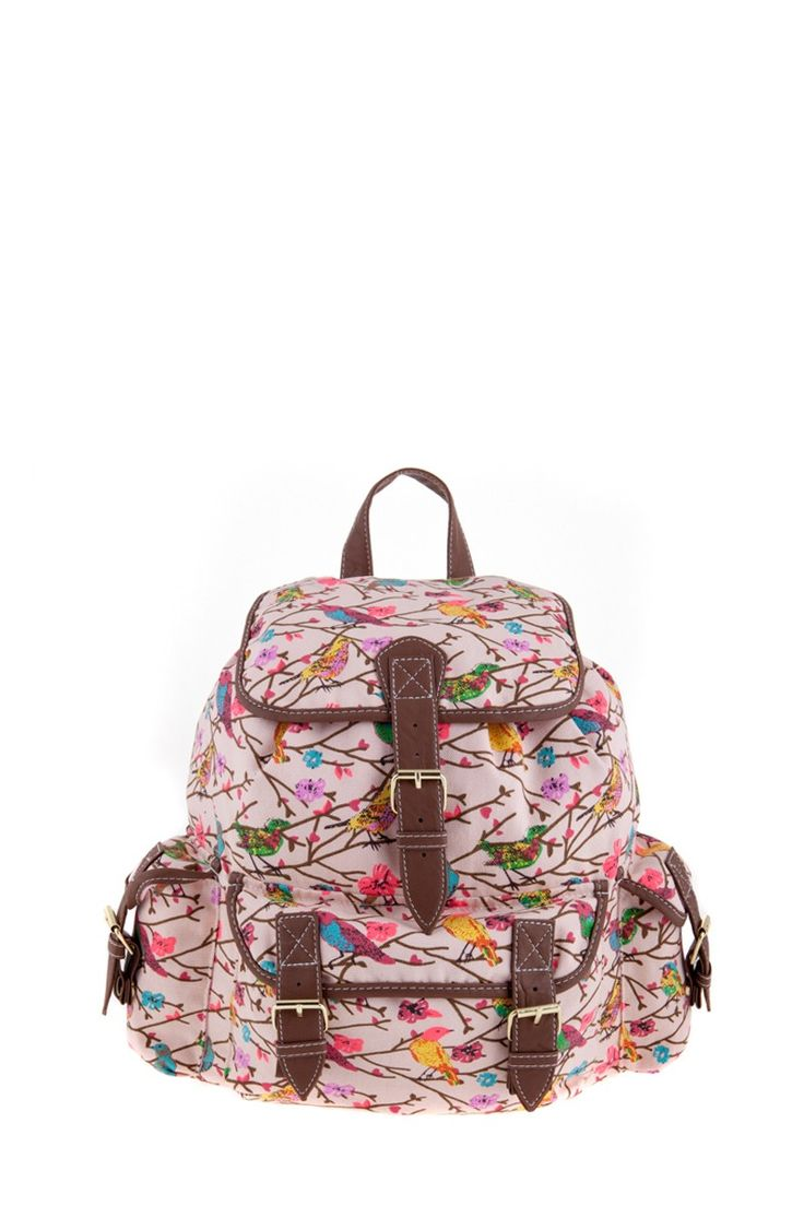 1534106551, PINK, Bird print backpack ,Bird print σακίδιο πλάτης