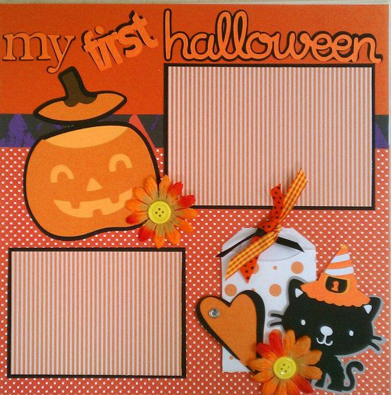 My First Halloween 12x12 premade scrapbook layout page on Etsy, $15.00