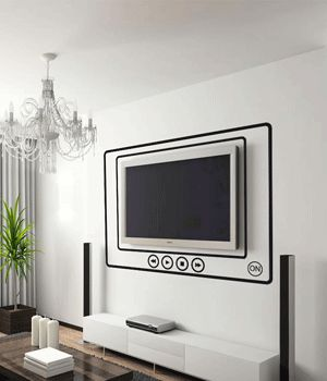 black wall stickers for wall with tv decoration
