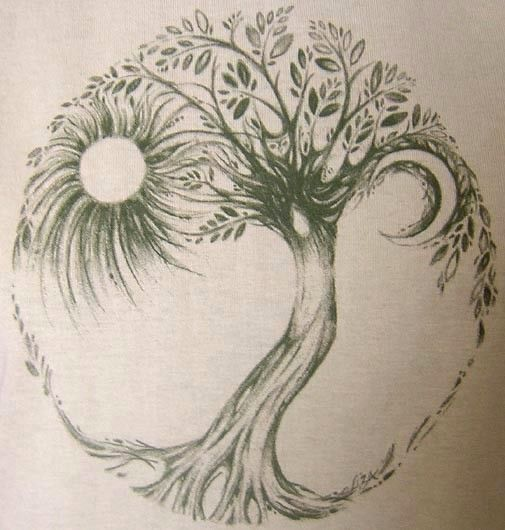 Amazing Grey Ink Hippie Tree Tattoo Design By Liza Paizis