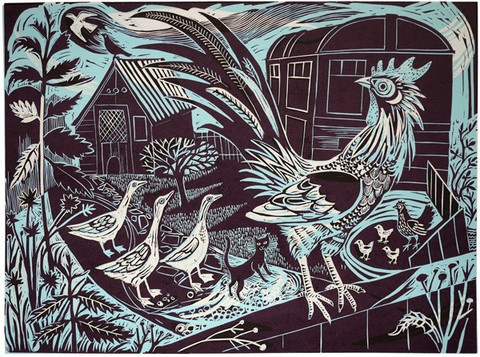 Mark Hearld's Rooster linocut - http://www.stjudesprints.co.uk/collections/mark-hearld/products/rooster