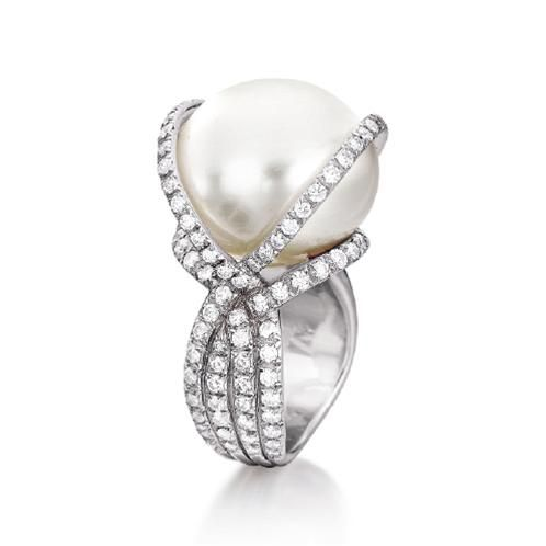 Verdura Wrapped Ring. South Sea cultured pearl, diamond and  platinum.
