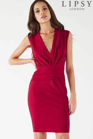 ef1e6eb0e3e Red Lipsy V neck Bodycon Dress