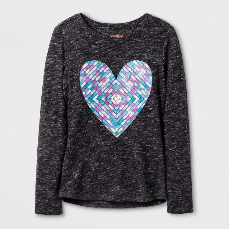 Girls' Long Sleeve Heart Graphic T-Shirt - Cat & Jack Black XL