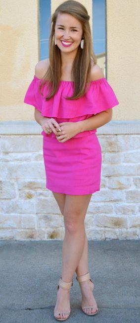 off the shoulder + pink
