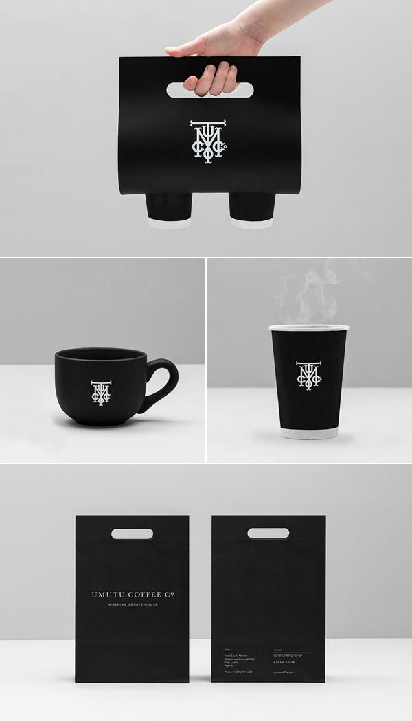 simple but effective design of packaging, looks very attractive to people to buy coffee from this shop. and cool design of high-contrast between logo and the black background colour.