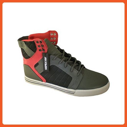Supra Chad Muska Skytop Skate Shoe - Men's Grey Leather/Red/Black Waxed Suede/White, 12.0 - Sneakers for women (*Amazon Partner-Link)