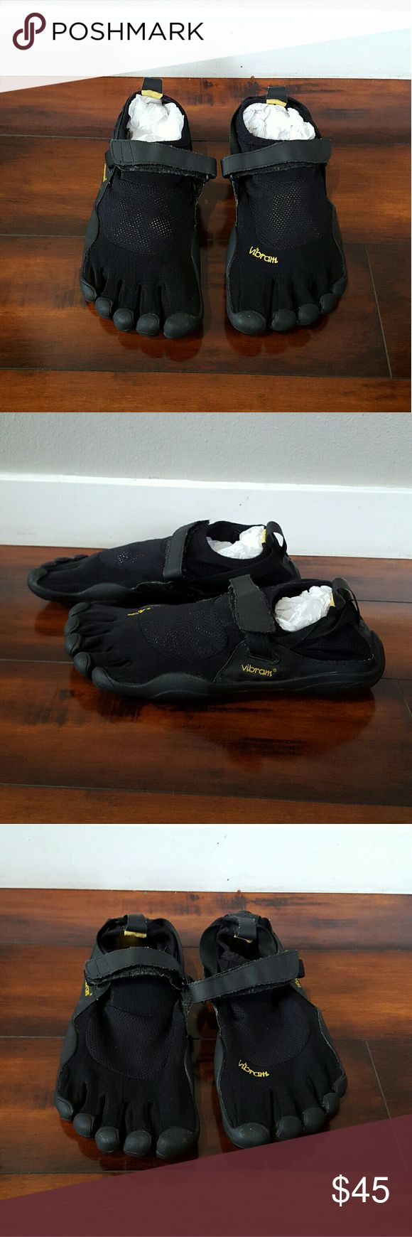 Men's black Vibram five finger shoes, size 10 Men's black Vibram five finger shoes, size 42, sz 10. Vibram Shoes