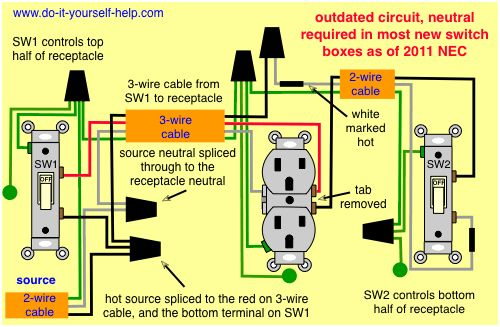 Wiring Diagram For Two Switches To Control One Receptacle In 2019