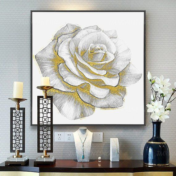 Valentines decor Original rose Acrylic Painting Extra Large Floral painting gold white Wall art Pict