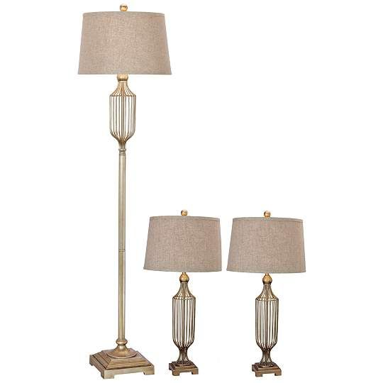 Maple Champagne Gold 3-Piece Floor and Table Lamp Set
