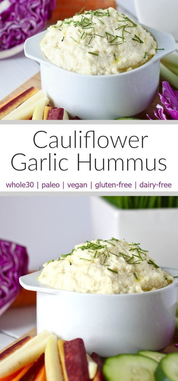 This creamy bean-free Cauliflower Garlic Hummus makes for the perfect and oh so tasty low-carb veggie dip. A whole30, paleo and vegan friendly recipe. | http://www.therealfoodrds.com