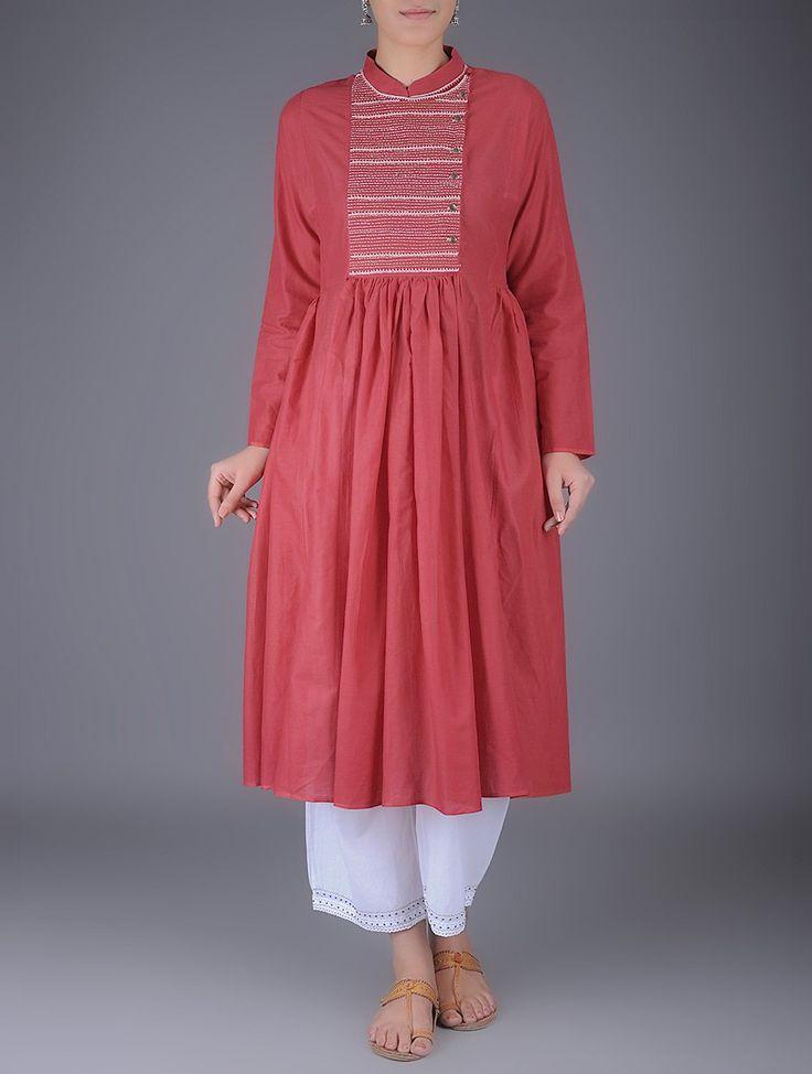 Buy Red Kantha Embroidered Mandarin Collar Gathered Cotton Kurta Women Kurtas Online at Jaypore.com
