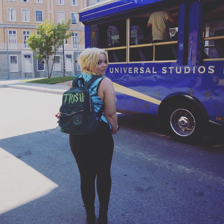 Trisha Paytas with her customized Slytherin backpack at Universal Studios