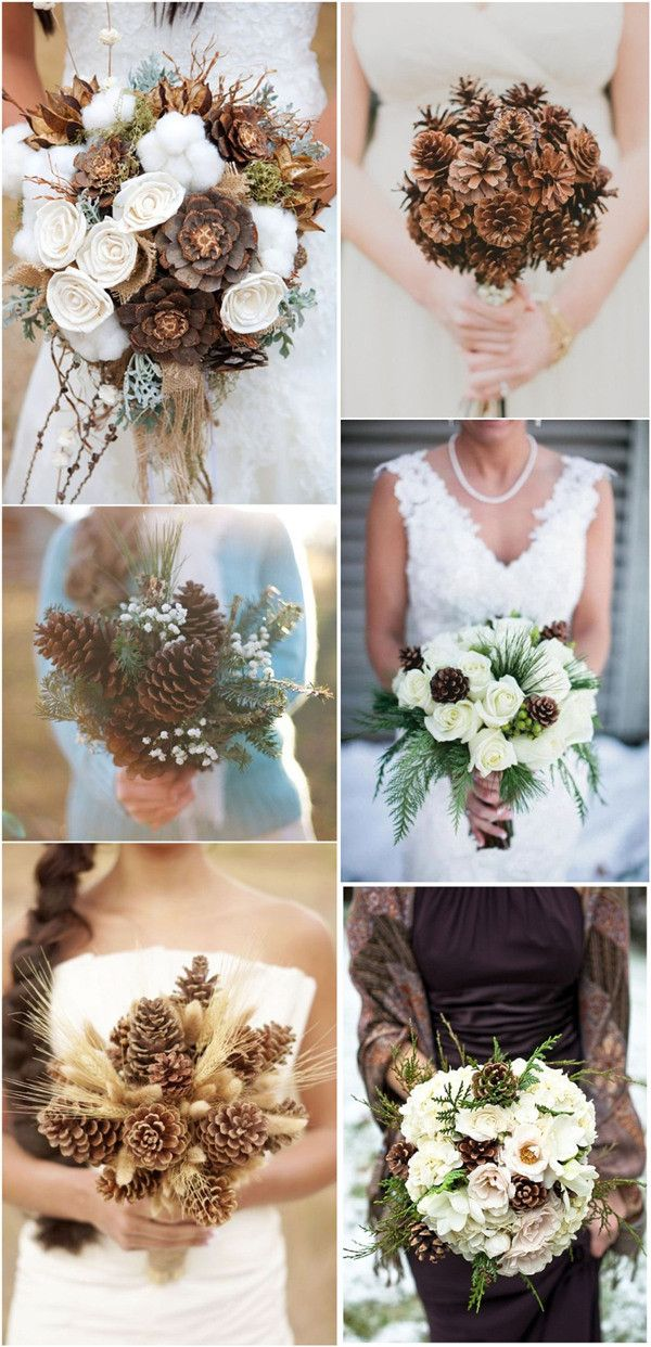 Rustic pinecones wedding bouquet ideas for you big day