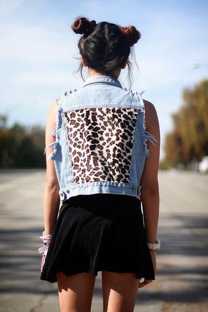 Tarte Vintage 90's Fashion Denim Destroyed vest with studded spikes on shoulder, velvet leopard cheetah back patch, velvet dress, blue lipstick from limecrime - available at shoptarte.com by JoellenLove, via Flickr