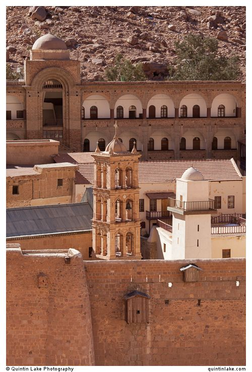 Bell tower (left) & Mosque Minaret (right) Saint Catherine's Monastery below Mount Sinai