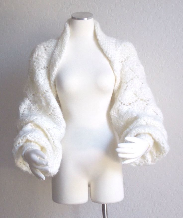 Hand Knit Bridal Shrug Sweater Jacket Balloon Long Sleeve Chunky Lace Winter White by woodlandhandmaidens on Etsy https://www.etsy.com/listing/110974543/hand-knit-bridal-shrug-sweater-jacket