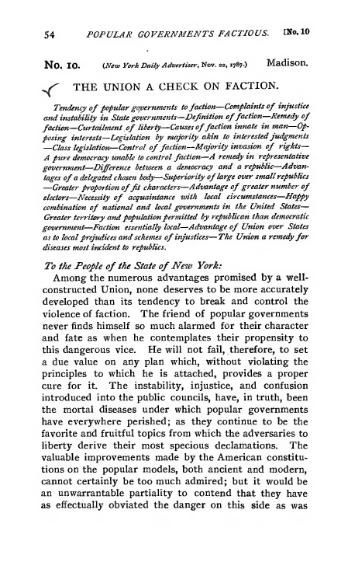 Federalist papers.  #10  (Black text on white in old-fashioned type)