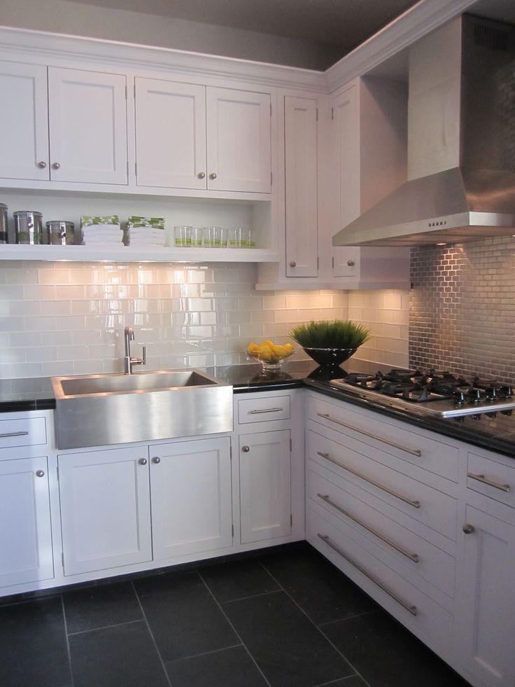 Kitchen White Cabinet Dark Grey Floor Tiles Lovely Kitchens