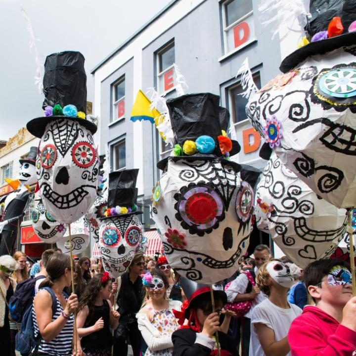 The Mazey day parade in Penzance, Cornwall, celebrates the Midsummer at the Golowan festival