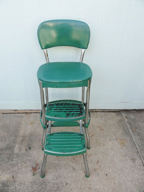 Vintage Kitchen Stool Chrome Green Metal Retro Side Table