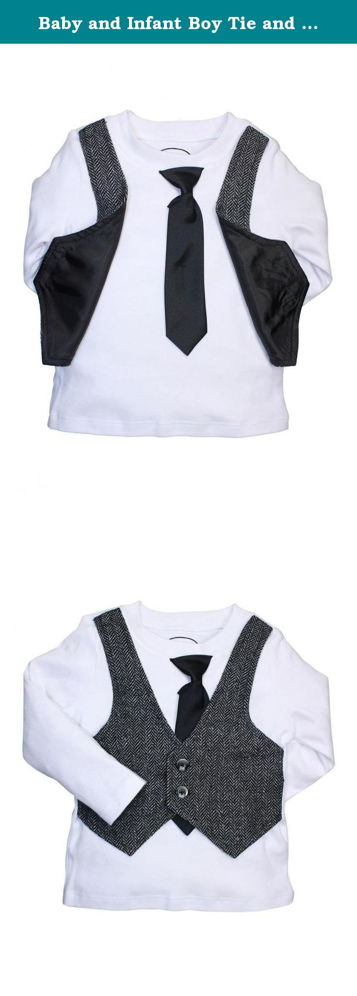 Baby and Infant Boy Tie and Herringbone Vest Dress Up Long Sleeve T-Shirt by Blume - White - 18 Mths. Baby and toddler boy tie and herringbone vest dress up long sleeve t-shirt. The tie and vest are attached to the shirt, makes dressing up your toddler or baby a breeze or just keeping your little guy styling all the time.