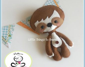 Little Sloth-PDF pattern-Baby Sloth-DIY Project-Wild Animals-Nursery decor-Instant Download-Baby's mobile toy-Cute Sloth