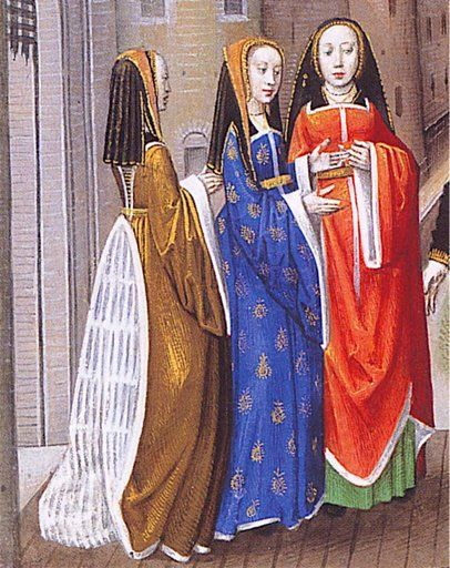 "Detail from David Sees Bathsheba in the Bath (manuscript dated 1515-1520 from Tours, France) and detail from Charles d'Orleans' ""Lover Addressing Three Ladies"" (circa 1490-1500)"