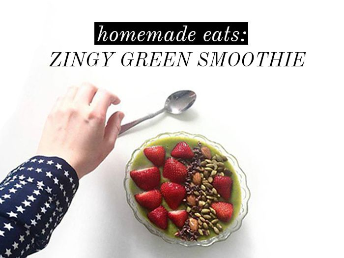 HOMEMADE EATS: ZINGY GREEN SMOOTHIE BOWL // the girl in polka dots