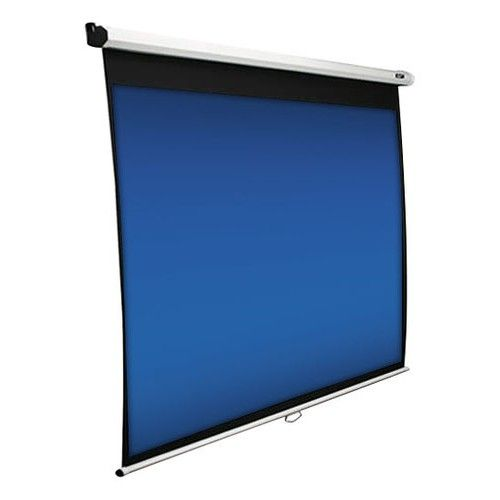 """Elite Screens - Manual Series 120"""" Pull-Down Projector Screen - White - Larger Front"""