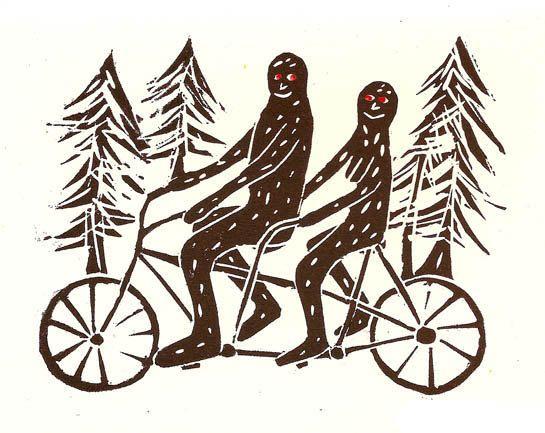 Bigfoots on a Tandem Bike