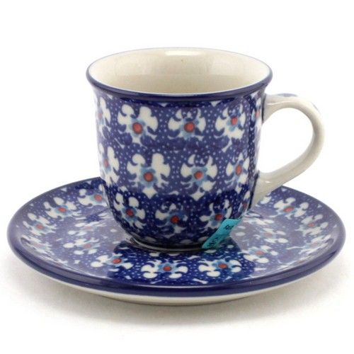 $21.49 Espresso Cup with Saucer 2.7 oz (80 ml) #142 | Slavica Polish Pottery