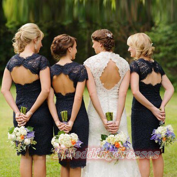 Backless Short Lace Navy Blue Bridesmaid Dresses http://21weddingdresses.storenvy.com/products/16271550-2016-navy-blue-short-lace-backless-bridesmaid-dresses-cheap-birdesmaids-dres