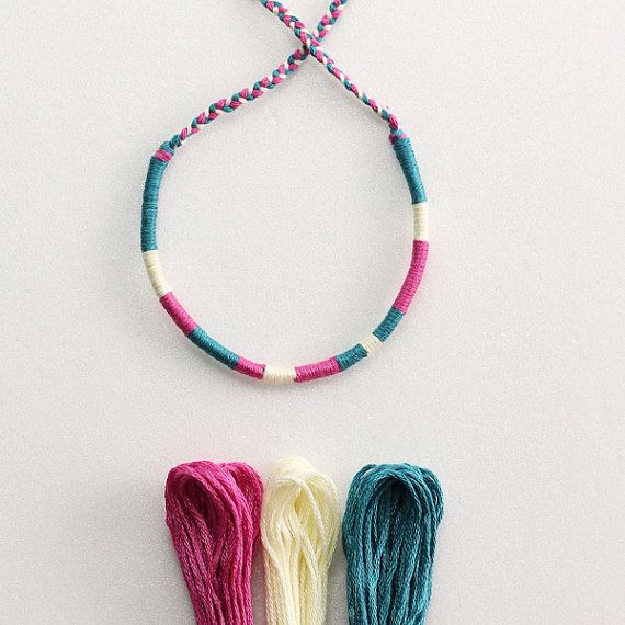 Embroidery thread wrapped bracelet. ITEM DETAILS  Material : cotton embroidery floss, waxed cotton cord.  overall length : approx. 34 cm or 13 1/2 inches