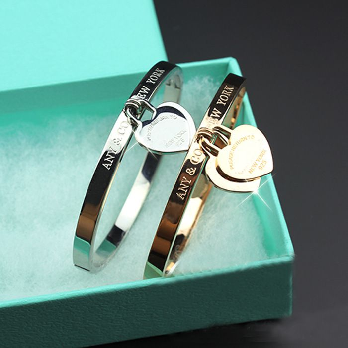 Titanium rose gold bracelets bangles chains double heart with chain 3 color bracelets **************************************** ALI: צמיד לבבי מומלץ לנשים ב-3 דגמים לבחירה ובציפוי זהב / פלטינה רק מ-34 ₪ + משלוח חינם!