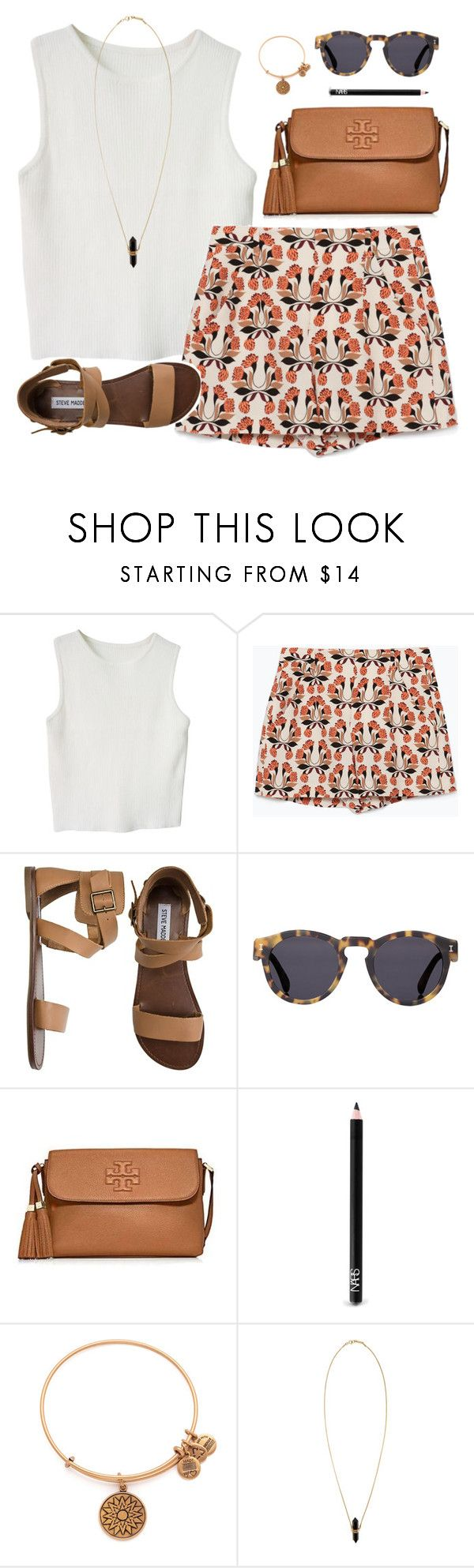 """warm colors hot weather"" by classically-preppy ❤ liked on Polyvore featuring Zara, Steve Madden, Illesteva, Tory Burch, NARS Cosmetics, Alex and Ani and Isabel Marant"