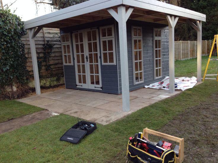Garden summerhouse with canopy