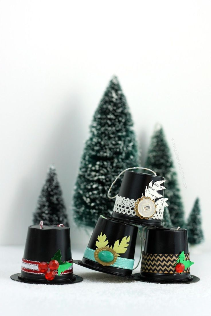 Snowman hats for crafts - Recycled K Cup Snowman Hat Ornaments