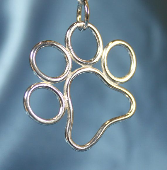For the dog lovers.  Etsy listing at https://www.etsy.com/uk/listing/291587467/silver-dog-paw-print-necklace