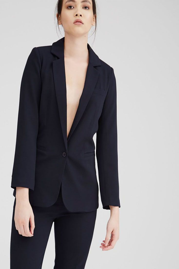 #Angie Dark Navy full lined Tailored #Blazer  with single button fastening. 9 5% Viscose, 5% Elastane