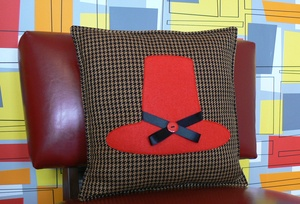 Welsh Hat Decorative Cushion (dog tooth check). welshhatcrafts.bigcartel.com